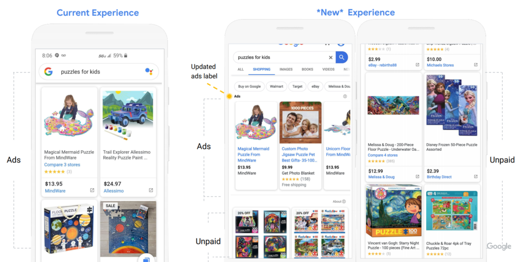 Before / After Google Shopping on Mobile