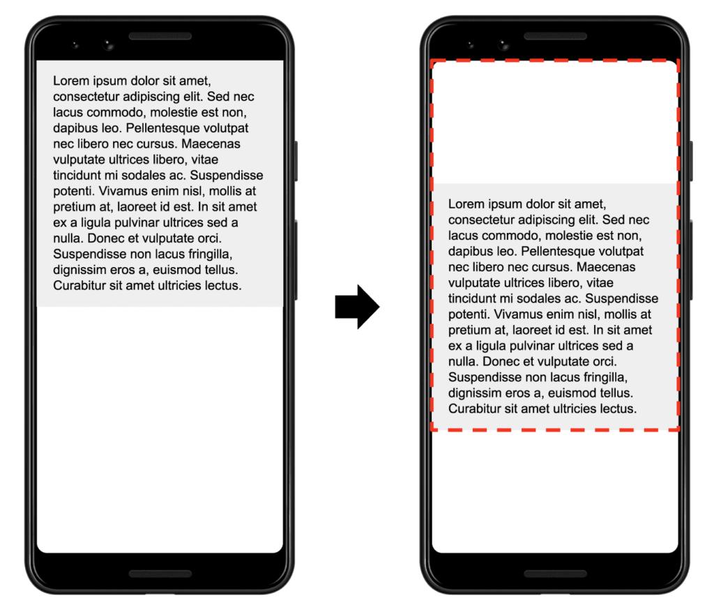 Exemple d'un bloc de texte qui se décale vers le bas