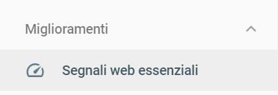 La sezione Segnali Web Essenziali , la traduzione di Core Web Vitals